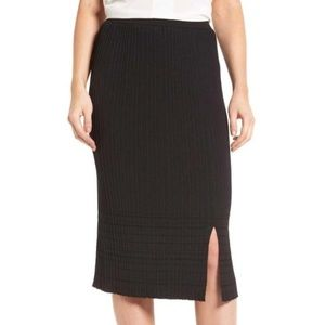 NWT NIC+ZOE  Black Trim Pleat Knit Midi Skirt
